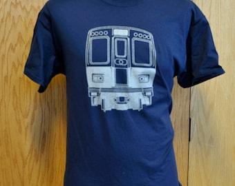 Chicago Transit Authority Vintage 2000 Series Railcar Logo T Shirt - Chicago CTA Railroad Fan Shirt