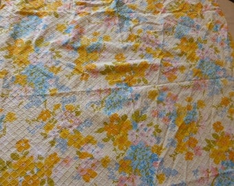 CURTAIN fabric VINTAGE 1960, flowers