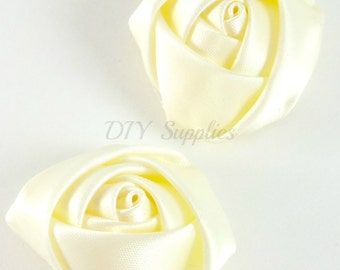 """1.5"""" Ivory rolled rosettes - Wholesale flowers - Fabric flower - Rolled satin flower - Headband supplies - Small rose flower - Set of 2"""