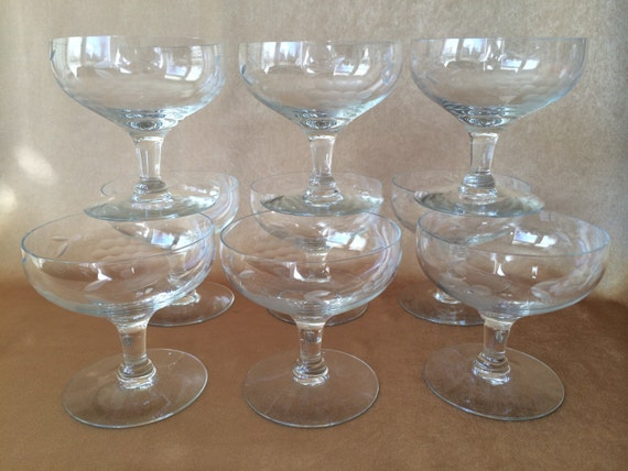 Etched crystal glasses champagne or dessert coupe style for Thin stem wine glasses