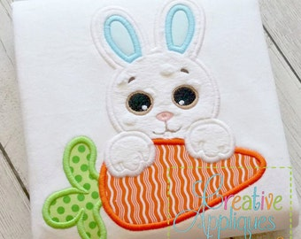 Bunny Rabbit Carrot Easter Applique Machine Embroidery  Design 4 Sizes