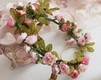 Baby Pink Rose Bridal Floral hair wreath Flower girl Halo flower hair wreath flower crown Bridal Accessories custom match flower bracelet