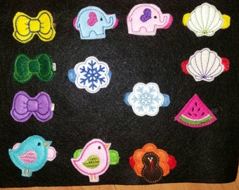 Embroidered Felty Hair Clips