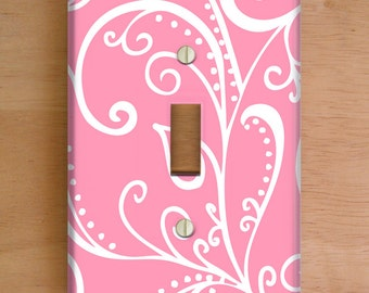 Silent Era, Pink Vinyl Light Switch Cover, Outlet Cover, Wallplate, Home Decor, Pink and White, Blue Home Decor, Swirls, Nursery, Girls