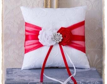 Red Ring Bearer Pillow, Red Wedding Ring Bearer Pillow, Red Ring Bearer Pillow, Red Wedding Accessories, Custom Color Wedding