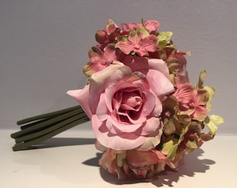 Pink Rose Bouquet - Spring/Summer Mixed Floral Bouquet - Wedding Centerpiece- Pink/Green/Mauve Flowers - Wedding Bouquet - Rose Bouquet