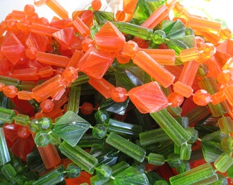 """Door Beads, Window Beads, 20 Green Strands Only - Boho Decoration Beads - Orange and Green - 38"""" Long Strands for Window or Wall or . . ."""