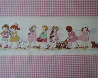"""Half Yard of 31036-20 Lecien Petite Marianne Retro Children Pink Gingham Border Fabric. Approx. 18"""" x 44"""" Made in Japan"""