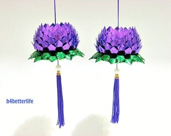 A Pair Of Purple Color Medium Size Origami Hanging Lotus. (4D Glittering paper series).