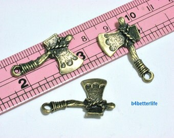 """Lot of 24pcs Antique Bronze Tone """"Axe"""" Double Sided Metal Charms. #BC2732."""