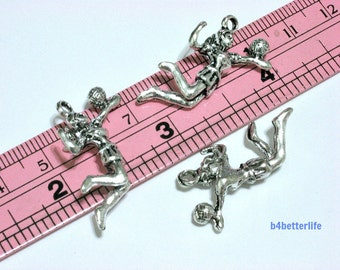 "Lot of 24pcs Double Sided Antique Silver Tone ""Volleyball"" Metal Charms. #BC4116."