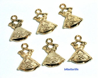 "Lot of 24pcs Double Sided ""Skirt"" Gold Color Plated Metal Charms. #XX275."