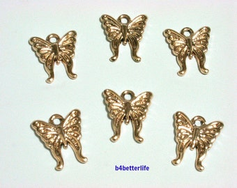 "Lot of 24pcs ""Butterfly"" Gold Color Plated Metal Charms. #XX166w."
