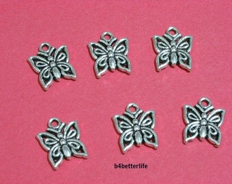 "Lot of 24pcs Antique Silver Tone ""Butterfly"" Metal Charms. #JL2800."