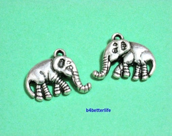 """Lot of 24pcs Antique Silver Tone """"Elephant"""" Double Sided Metal Charms. #JL3514."""