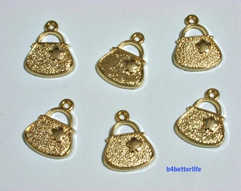 "Lot of 24pcs ""Handbag"" Gold Color Plated Metal Charms. #SW1048."