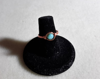 Copper green shell ring