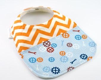 Organic Baby Bib - Teething Bib, Drool Proof! - Blue Toolbench, Orange Chevron