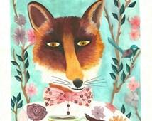 Art print, fox, home decor, child, fine art, Illustration, renard, impression, décor, chambre, enfant, livraison gratuite france, painting
