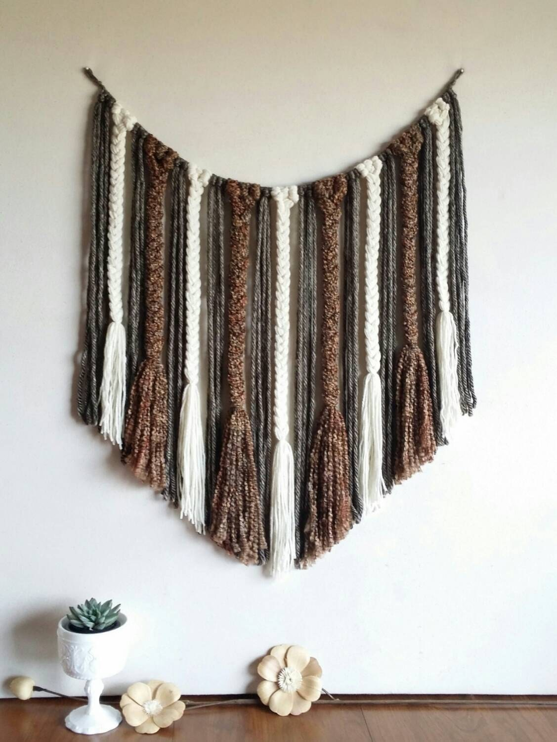 western wall art country home decor yarn wall hanging cream
