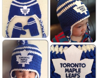 Handmade Toronto Maple Leafs Crochet Hat with NHL Patch/ Photo Prop (newborn-adult: made to order)