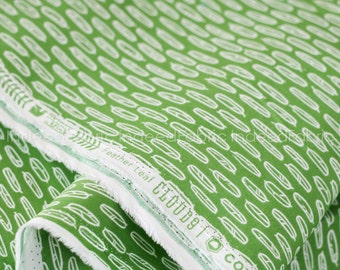 15% Off // Feather Leaf Green, Yoyogi Park from Cloud 9 Fabrics, Certified Organic Cotton Fabric, Quilting Weight