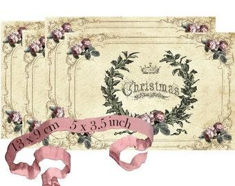Vintage Christmas Wreath Noel Instant Download digital collage sheet P116 Merry Christmas Joyeux Noel