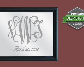 "Family Name Sign, Personalized Mirror, etched with monogram, 23.5"" x 19.5"" with decorative black frame"