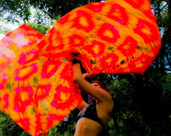 Weighted Spin Flags Pair of UV Glow Hand Dyed Silk Flags Burning Man Worship Flags Made To Order