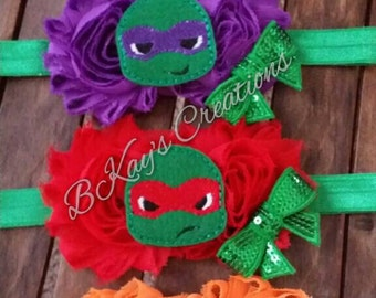 Teenage Mutant Ninja Turtle Chiffon Flower Headband
