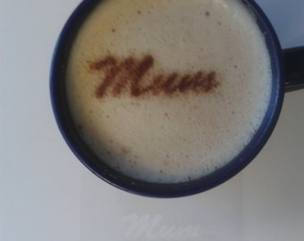 2 x mum word coffee / cappuccino stencils reusable many times present gift fundraising