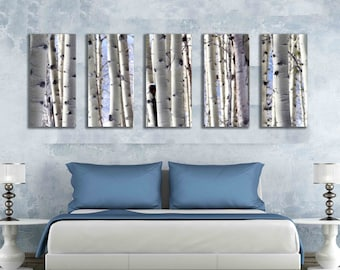 Five 10x20 inch canvas print multipanel snow aspen tree photo home decor nature mountain multiple piece artwork covers 60 inch wall hanging