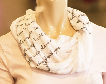 Personalized Infinity Scarf - Song Lyric Scarf - Custom Infinity Scarf - Knit Jersey Raw Edged Scarf - 1st Anniversary Gift