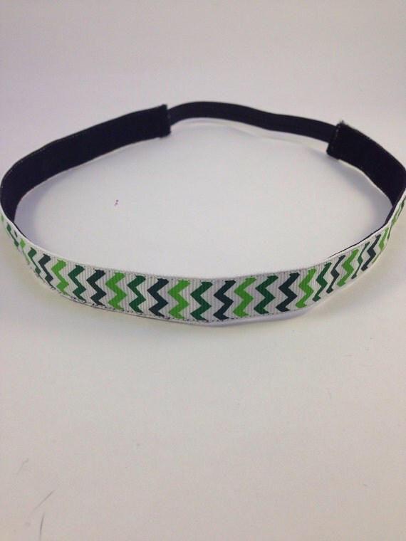 Multi colored green chevron patterned non-slip headband for everyday and active wear