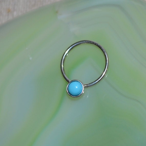 3mm Turquoise Nipple Ring - Silver Septum Ring - Nipple Piercing - Septum Piercing - Cartilage Piercing - Conch Piercing 14g - Body Piercing