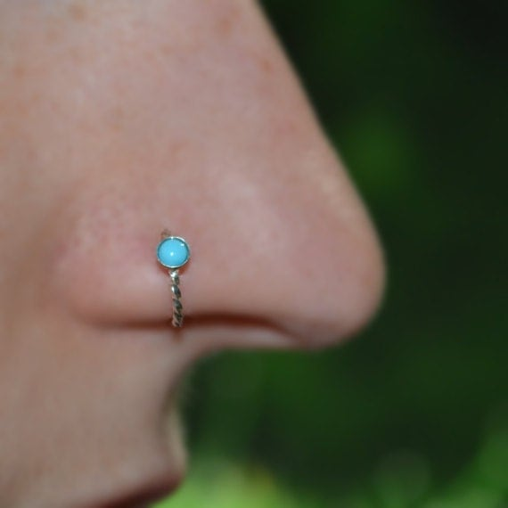 Turquoise Nose Ring - Silver Nose Hoop - Rook Piercing - Cartilage Earring - Tragus Earring - Daith Ring - Helix Hoop - Nose Piercing 20g