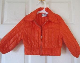 Boys Jacket - Vintage 1978 -  Billy the Kid Brand Orange Nylon Jacket