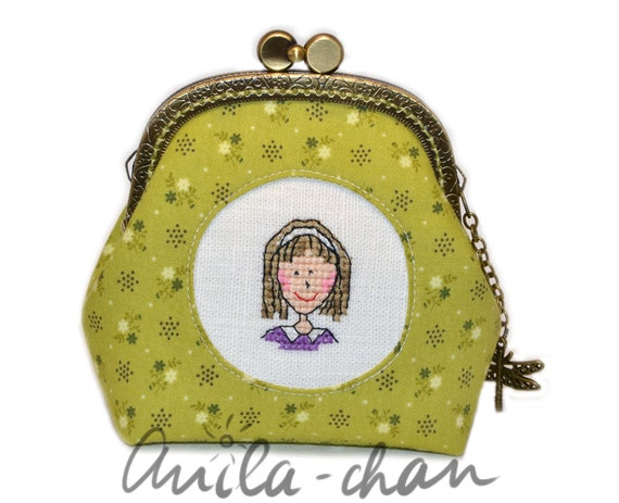Hand embroidered green purse | Cross stitch face floral purse | Pretty woman | Eco friendly bag