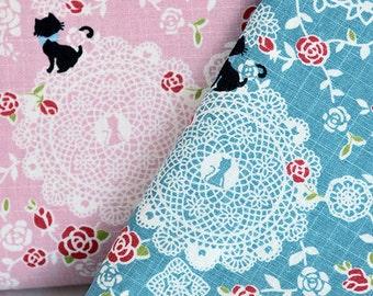 145cm / 57 inch Width, Elegant Kitty Lace Pattern Cotton Fabric, Half Yard