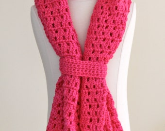 Fun on the Run Watermelon Scarf Crocheted and Ready To Ship