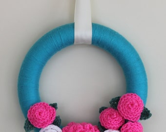 12   Inch Yarn  Wreath Turquoise - Bright Pink  and White  Crochet  Flowers -Ready to Ship
