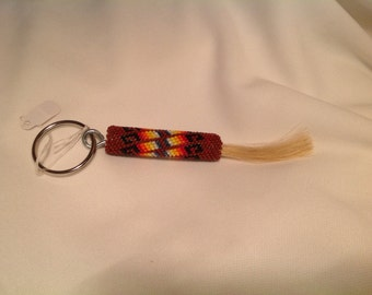 Native American Beaded Horsehair Keychain - Root beer Brown with Fire Color Design