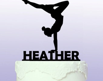 Personalised and Elegant Gymnastics Cake Topper