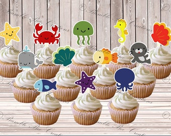Cupcake Toppers - Set of 12 - Under the Sea Theme
