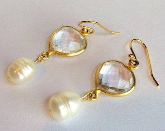Quartz and Cultured Pearl 14k Gold Plate Dangle Earrings