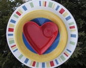 Heart Plate Flower in Primary Colors