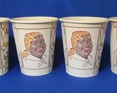 4 Vintage Black Americana Advertising Aunt Jemima Kitchen Americas Pancake Queen Never Used  Wax Lined Coffee Cup Restaurant Old Memorabilia