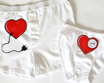 Couple lingerie men boxer and women panties fun sexy underwear unique present for lovers valentines day