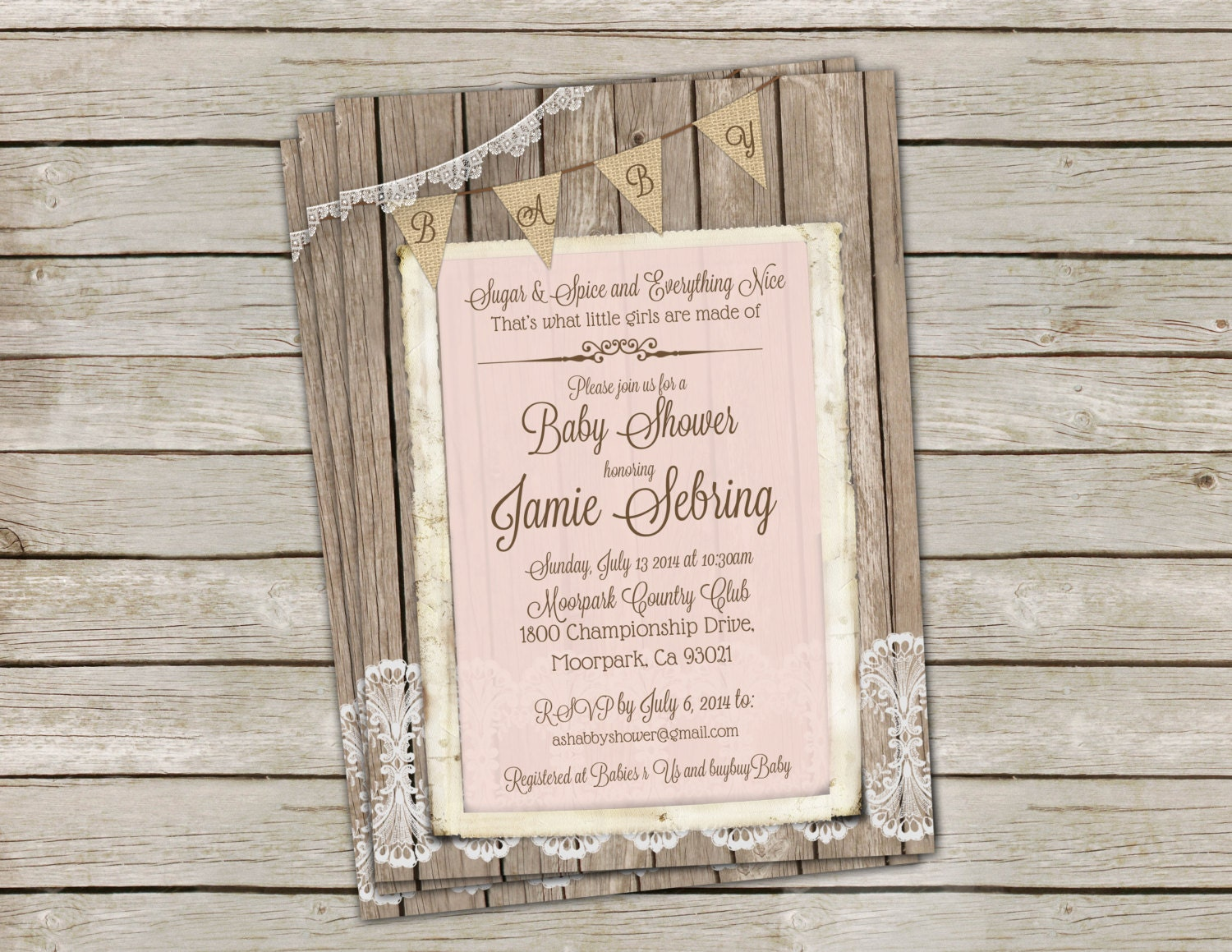 rustic shabby chic wood and lace baby shower invitation for