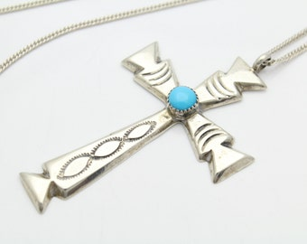 """Vintage Big Sterling Silver and Turquoise Navajo Cross  Necklace 16"""" Silver Ray. [4115]"""